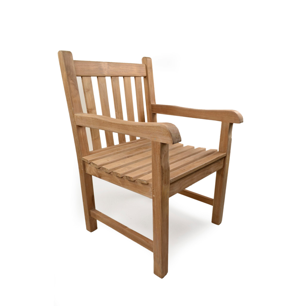 Sandringham teak arm chair grade a teak furniture for Teak outdoor furniture