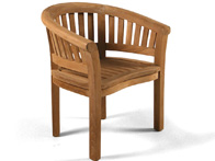 Curved teak chair